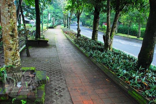 Taman kota yang berada di Pangukan dahulunya adalah lintasan rel kereta api. Hal ini bisa diamat dari kelengkungan jalan yang tidak terlalu menikung.