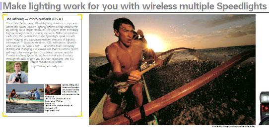 foto pendayung perahu oleh Joe McNally di brosur Nikon