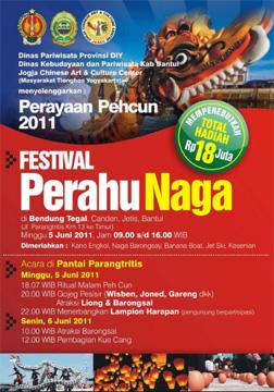poster festival perahu naga 2011 pehcun di bendungan tegal bantul jogja