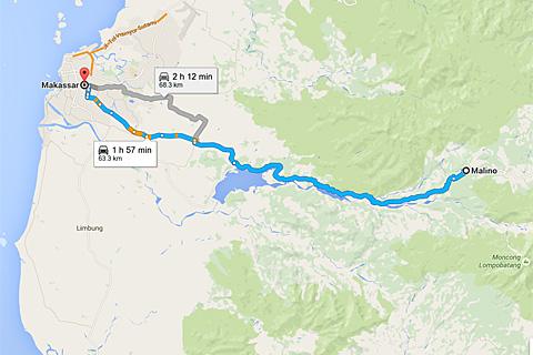 Peta rute Jalan dari Kota Makassar menuju Air Terjun Takapala, di Desa Malino, Tinggimoncong, Gowa, Sulawesi Selatan