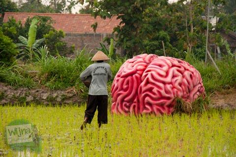 Pameran Panen Terakhir di Nitiprayan dan Jeblog, Kasihan, Bantul oleh Komunitas Garda Matra berbentuk otak besar