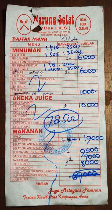 Daftar menu tagihan bon makan bersantap di Warung Selat Solo Mbak Lies Serengan