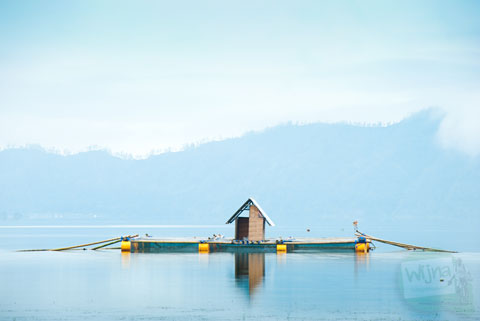 pemandangan keranda dari pinggi danau Batur, Kintamani, Bali