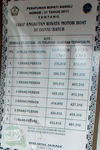 Tarif murah resmi perahu di danau batur Bali. Cheap ticket for boat in Batur Lake Bali.