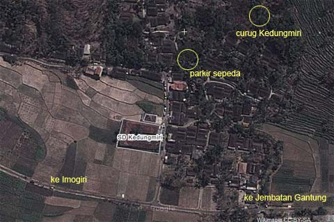 peta rute menuju air terjun kecil bernama Curug Kedung Miri yang berada di dekat jembatan Gantung Selopamioro