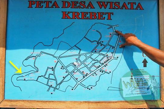 Peta Desa Wisata Krebet di Pajangan, Bantul, Yogyakarta hasil karya mahasiswi KKN seksi di tahun 2013