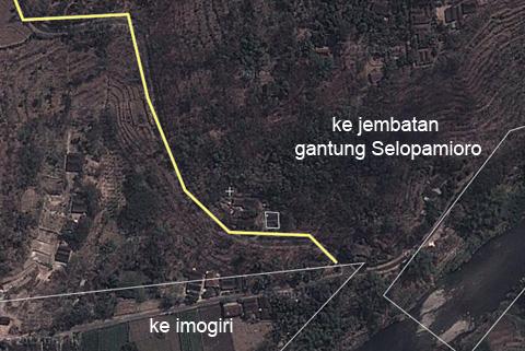 lokasi rambu peringatan unik bahwa sepeda harus turun di Imogiri, Bantul