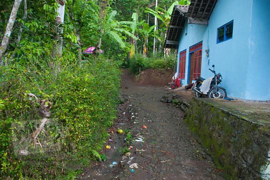 Rumah-rumah warga di Dusun Lor Kali, Purworejo, Jawa Tengah