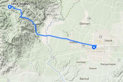 Denah Peta Lokasi Curug Klanceng Putih, Sedayu, Purworejo