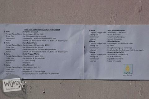 Daftar permintaan unik dan lucu anak bajang saat Dieng Culture Festival 2014