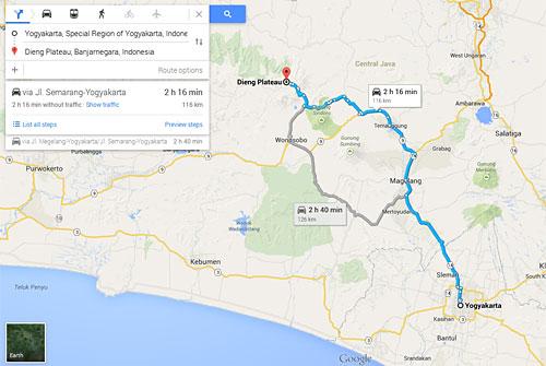 Peta rute trayek Angkutan Umum (bus) dari Jogja ke Dieng (Wonosobo)