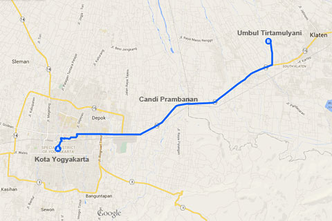 Peta Lokasi Pemandian Alami Khusus Wanita bernama Umbul Tirtomulyani, Kebonarum, Klaten, Jawa Tengah