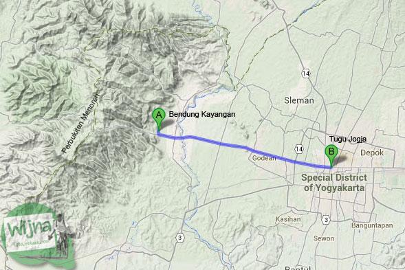 Peta rute bersepeda ke Bendung Kayangan Girimulyo dan Ketemu Air Terjun Tersembunyi di Kulon Progo pada zaman dulu April 2014