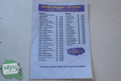 Daftar menu makanan santapan di rumah makan Bakmi Nyemek Bu Seto, Kemrajen, Banyumas