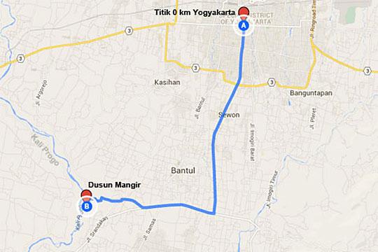 Peta lokasi Rumah makan Legokan Ngancar di Pajangan, Bantul dari Kota Jogja