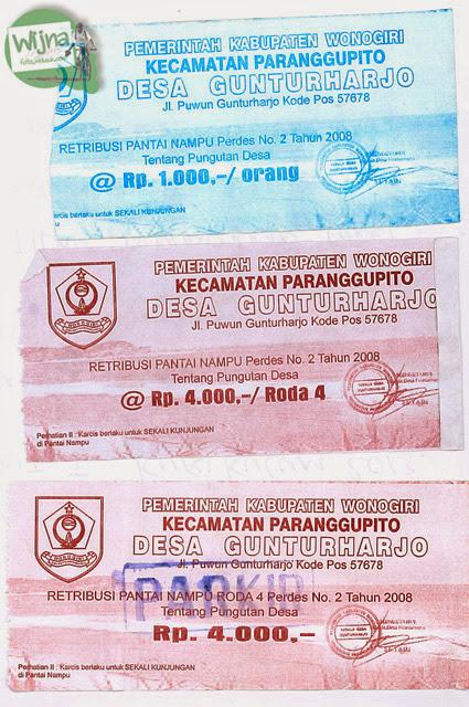 Tiket retribusi Pantai Nampu di Wonogiri Jawa Tengah dengan tarif untuk tahun 2013, 2014, 2015, 2016, dan 2017.