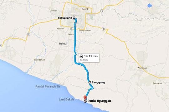 Peta Rute Bersepeda Sendirian ke Pantai Ngunggah pada zaman dulu Juni 2014