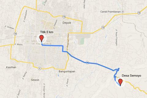peta rute lokasi dari Kota Jogja menuju Desa Wisata Jurug Taman Sari dengan Curug Lengkongsari, Gunungkidul