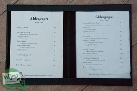 Daftar harga makanan dan minuman di restoran Abhayagiri Sumberwatu Heritage, Prambanan, Yogyakarta