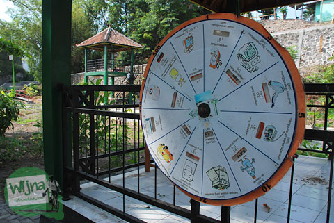 Mainan informatif yang rusak di Taman Gajah Wong Park, Umbulharjo, Yogyakarta