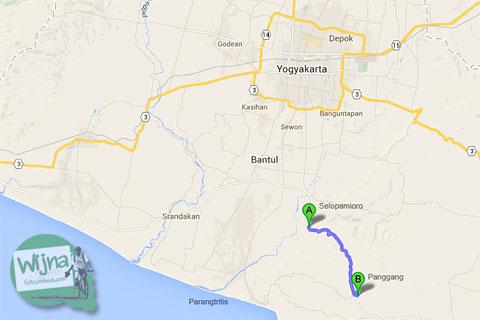Rute Tanjakan Siluk (Imogiri-Panggang) dan posisinya dari kota Jogja.