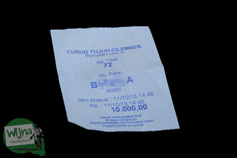 karcis parkir Curug Cilember, Cisarua, Bogor tahun 2013 yang mirip karcis parkir mall