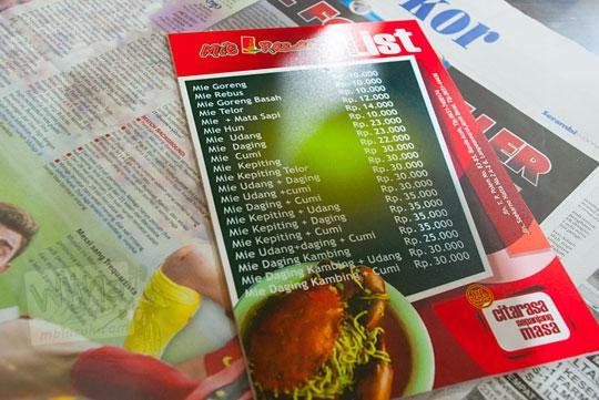 Daftar menu jenis Mie Aceh di rumah makan Mie Aceh Razali, Banda Aceh