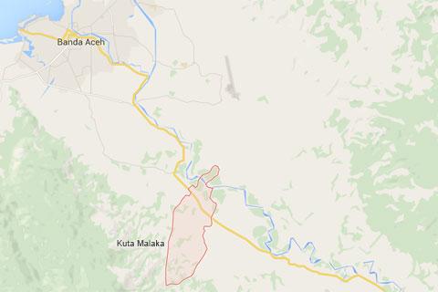 Peta Air Terjun Kuta Malaka, Aceh Besar pada zaman dulu september 2014
