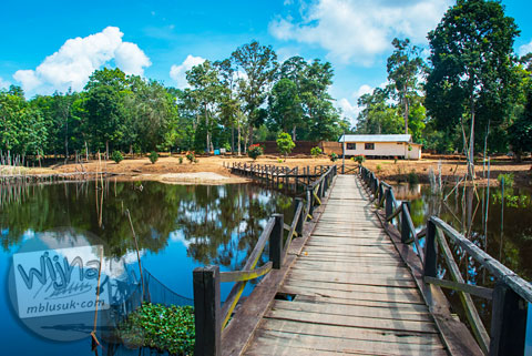 Jembatan menuju Candi Kedaton di Muaro Jambi