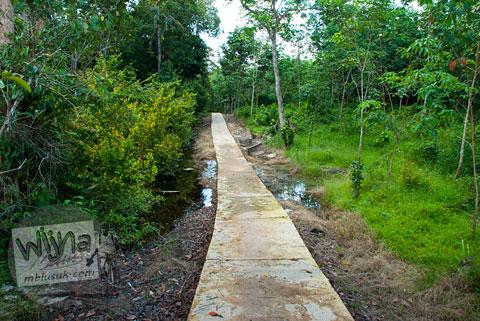 Jalan cor Semen di Candi Kedaton di Muaro Jambi
