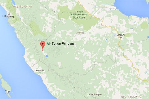 Peta lokasi Air Terjun Pendung, Kerinci, Jambi