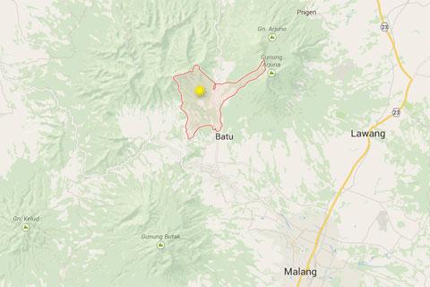 Peta Lokasi Desa Tulungrejo di wilayah Kota Batu, Jawa Timur