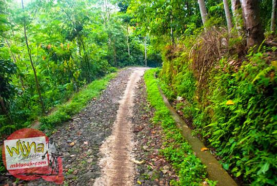 Kondisi jalan batu yang rusak menuju objek wisata Air Terjun Kembar Lamuran di Tanggamus, Kotaagung, Lampung pada Maret 2015