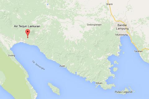 peta air terjun kembar lamuran wisata alam di provinsi lampung