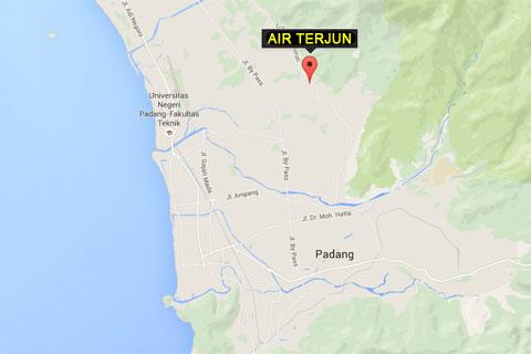 Peta lokasi ke Air Terjun Lubuak Tampuruang (yang katanya) di kota Padang, Sumatra Barat