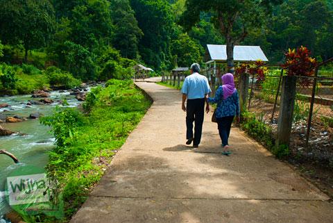 jalan setapak pengunjung di lokasi wisata Air Terjun Bedegung (Curup Tenang) di Sumatra Selatan