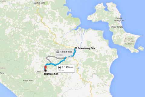 peta lokasi Air Terjun Bedegung (Curup Tenang) di Sumatra Selatan dan jaraknya dari kota Palembang