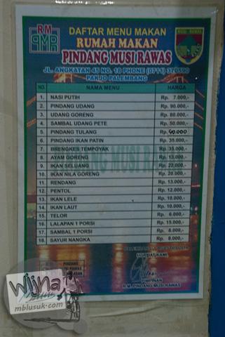 daftar harga makanan dan minuman di rumah makan pindang musi rawas yang ada di Jalan angkatan 45, Pakjo, Palembang
