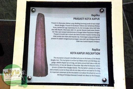 Keterangan Prasasti Kota Kapur di Museum Sriwijaya Palembang