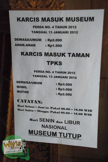 Tarif masuk ke Museum Taman Purbakala Kerajaan Sriwijaya Palembang