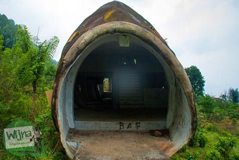 Bentuk mulut bangunan ikan mas di dekat danau toba yang terlantar