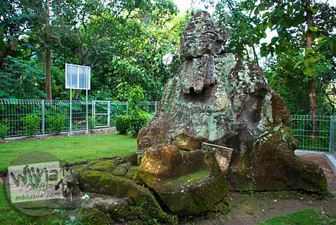 Tampak belakang arca Ganesha berukuran raksasa yang tersembunyi di dalam hutan Dusun Dawangsari di Prambanan, Yogyakarta