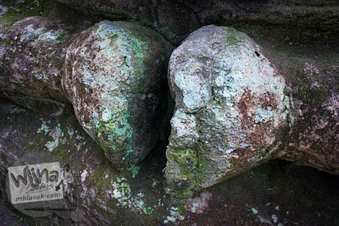 Pose kaki khas Arca Ganesha berukuran raksasa yang tersembunyi di dalam hutan Dusun Dawangsari di Prambanan, Yogyakarta