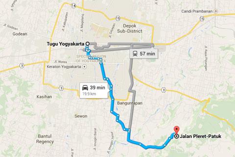 Peta lokasi Grojogan Kali Bulan, Piyungan yang Tertinggi se-Bantul dari kota Jogja