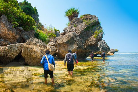 Susur pantai dari Pantai Drini ke Pantai Ngrumput lewat Pantai Watu Bolong, Gunungkidul