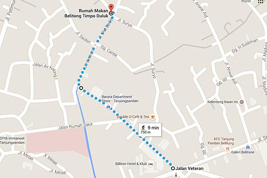 Peta lokasi wisatawan menuju Ruma Makan Belitong Timpo Duluk di kota Tanjung Pandan, Belitung