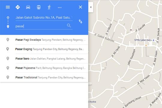 Peta letak lokasi pasar di Kota Tanjung Pandan dan Belitung di halaman Google Maps