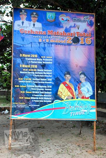 rangkaian acara menyambut terjadinya gerhana matahari total di Pantai Nyiur Melambai di Belitung Timur pada Maret 2016