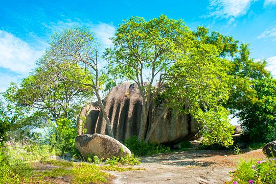 mitos cerita mistis asal-usul terjadinya banyak jenis ukuran klasifikasi batu granit tersebar di Pantai Tanjung Kelayang, Belitung pada Maret 2016