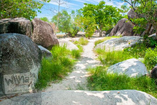 semenanjung tersembunyi dikelilingi pohon batu granit serta jalan setapak di kawasan Pantai Tanjung Tinggi pada Maret 2016